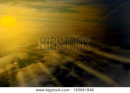 risen Sunset sunshine Clouds seen from the plane nature background
