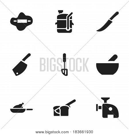 Set Of 9 Editable Cooking Icons. Includes Symbols Such As Squeezer, Soup, Meat Grinder And More. Can Be Used For Web, Mobile, UI And Infographic Design.