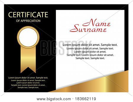 Certificate of appreciation. Elegant gold and black design. Vector illustration.