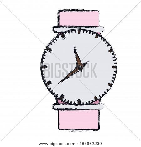 hand drawing color graphic of female wristwatch vector illustration