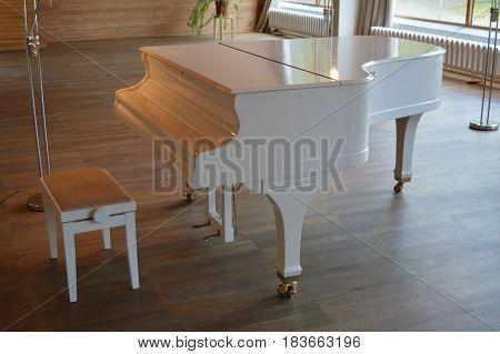 White grand piano in a small concert hall