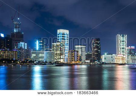illuminated cityscape at nightpanoramic view in city of China.