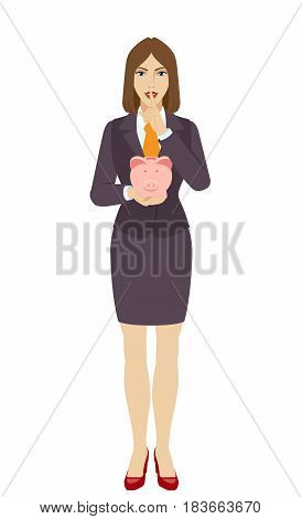 Hush hush. Businesswoman holding a piggy bank and showing hush-hush sign. Full length portrait of businesswoman character in a flat style. Vector illustration.