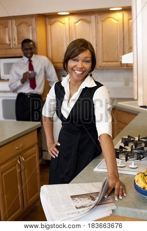 African couple in kitchen