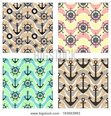 Set Of Vector Seamless Patterns With Anchor, Steering Wheel, Life Preserver And Waves. Creative Geom