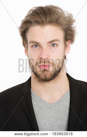 Young Businessman Wearing Grey Shirt And Black Jacket