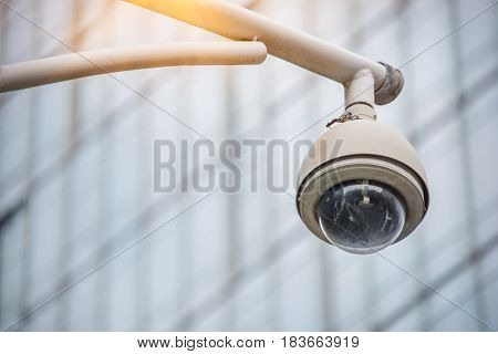 detail shot of CCTV security camera front of modern buildingshot in Shanghai.China.