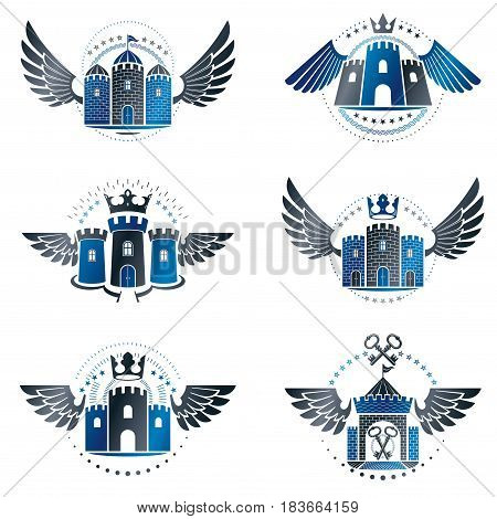 Ancient Bastions Emblems Set. Heraldic Vector Design Elements Collection. Retro Style Label, Heraldr