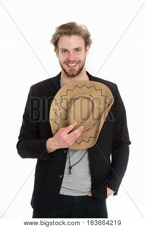 American Cowboy Hat In Hand Of Happy Businessman