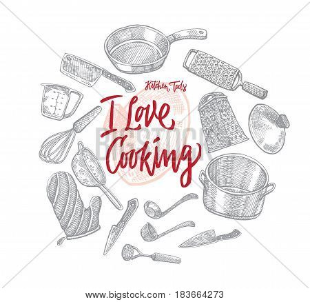 Sketch kitchen utensils round concept with different cooking tools and equipment isolated vector illustration
