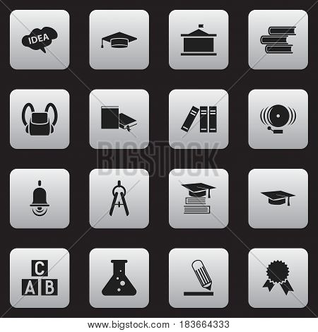 Set Of 16 Editable Graduation Icons. Includes Symbols Such As Chemistry, Univercity, Graduate And More. Can Be Used For Web, Mobile, UI And Infographic Design.