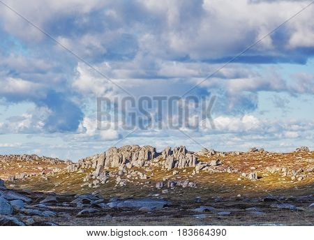 Rocky Outcrops On Bright Sunny Day Near Mount Kosciuszko Summit Walk