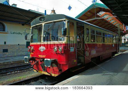Prague Czech Republic-27 April 2017: Personal Diesel Train at Masaryk Station in Prague