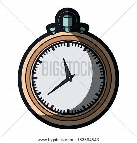 realistic color graphic of stopwatch with thick contour and thick contour vector illustration