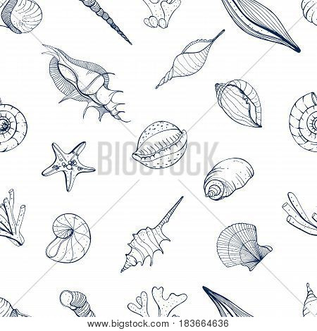 Hand drawn seamless pattern with seashells. Vector monochrome background