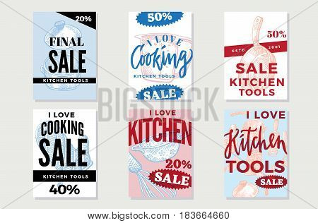 Kitchen utensils promotional posters with sale inscriptions and hand drawn tools and equipment vector illustration
