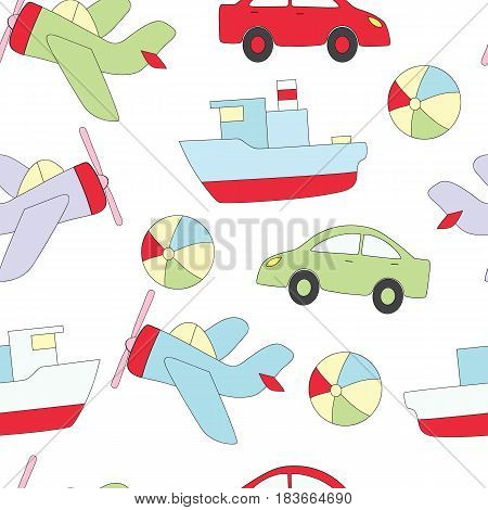 Seamless pattern with children's toys for the boy. A vector picture with a ball, the car, the ship, plane on a white background