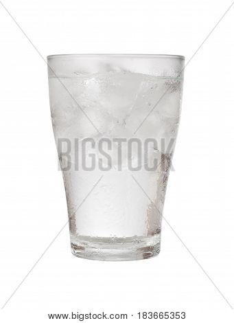 Glass of iced water isolated on white background