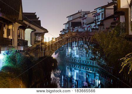 Gubei water town at night in BeijingChina.