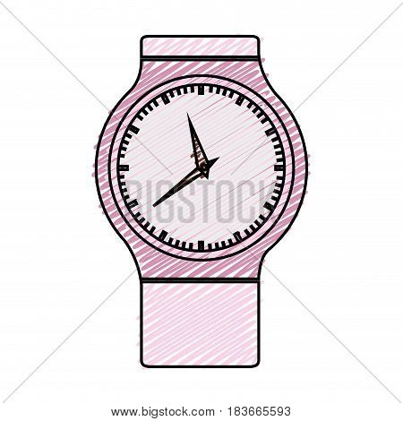 color pencil graphic of modern female wristwatch vector illustration