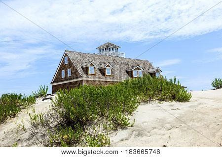 Wooden Houses In The Manatee Bay Near Fort Largo In The Dunes Of The Keys