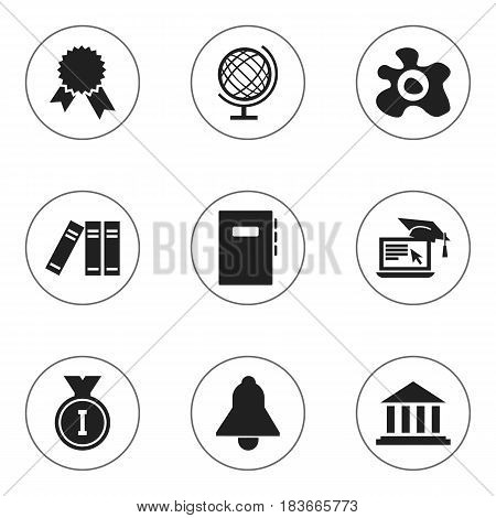 Set Of 9 Editable University Icons. Includes Symbols Such As Omelette, Workbook, Distance Learning And More. Can Be Used For Web, Mobile, UI And Infographic Design.
