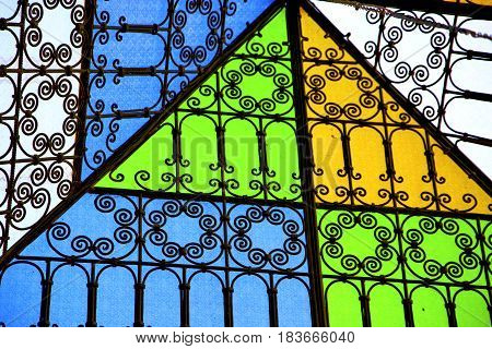 Colorated Glass And Sun In Morocco