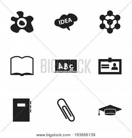 Set Of 9 Editable School Icons. Includes Symbols Such As School Board, Molecule, Certification And More. Can Be Used For Web, Mobile, UI And Infographic Design.