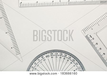 Geometry instruments creating copy space against white background