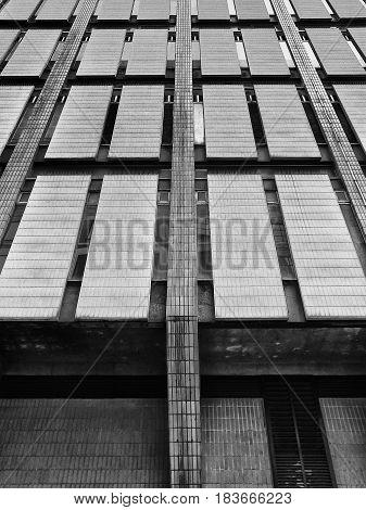 cladding on a brutalist 1960s concrete building