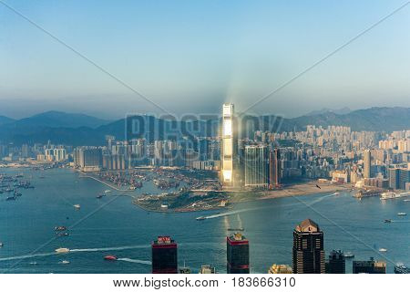Hong Kong City View To Kowloon From Victoria Peak