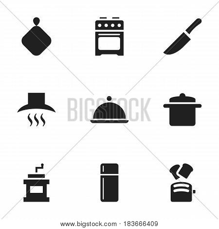 Set Of 9 Editable Cooking Icons. Includes Symbols Such As Pot-Holder, Cookware, Slice Bread And More. Can Be Used For Web, Mobile, UI And Infographic Design.