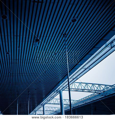 Low angle view of building ceiling in blue toneshot in city of China.