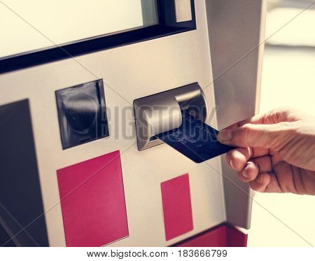 Adult Woman Hands With Debit Card at ATM
