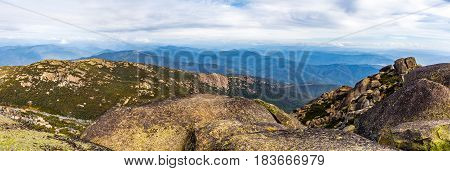 Beautiful Landscape Panorama Of Boulders, Rocks, And Mountains At Mount Buffalo National Park, Victo