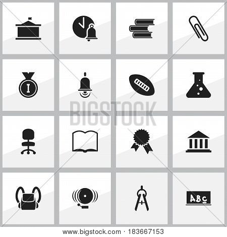 Set Of 16 Editable Science Icons. Includes Symbols Such As Staple, Victory Medallion, Alarm Bell And More. Can Be Used For Web, Mobile, UI And Infographic Design.