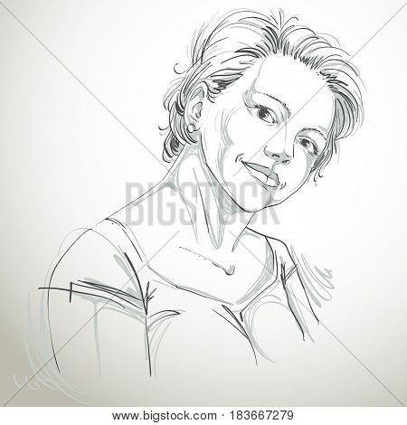 Hand-drawn vector illustration of beautiful romantic woman. Monochrome image expressions on face of young lady.