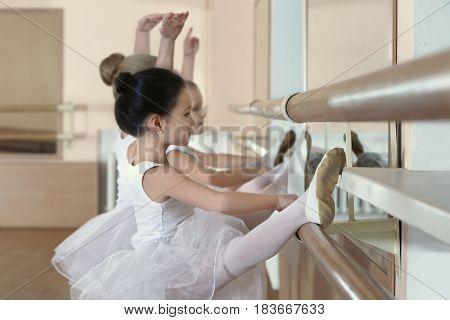 Group of little ballerinas practicing ballet using bar at class