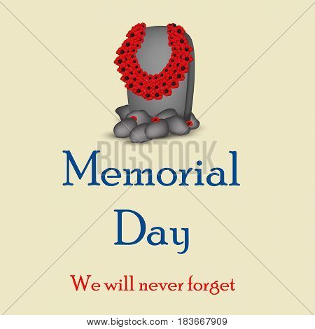 Illustration of gravestone with memorial day text