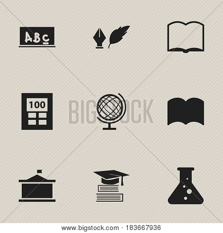 Set Of 9 Editable Education Icons. Includes Symbols Such As Book, Education, Univercity And More. Can Be Used For Web, Mobile, UI And Infographic Design.