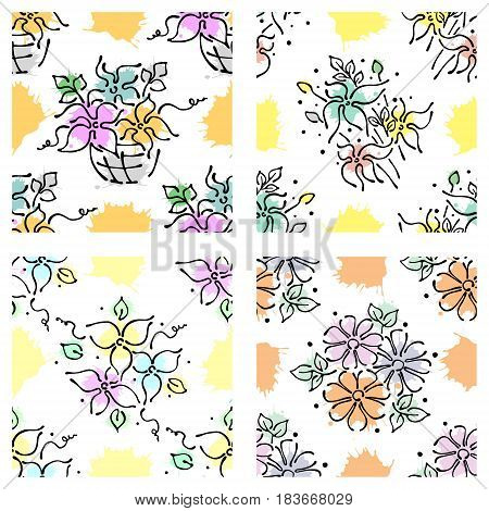 Set Of Seamless Vector Hand Drawn Floral Patterns, Endless Backgrounds Print With Flowers, Leaves, S