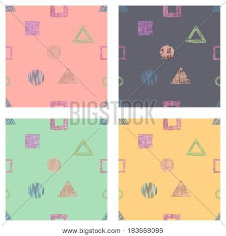 Seamless Set Of Vector Geometrical Patterns With Rectangles, Triangles, Circle, Square Endless Backg