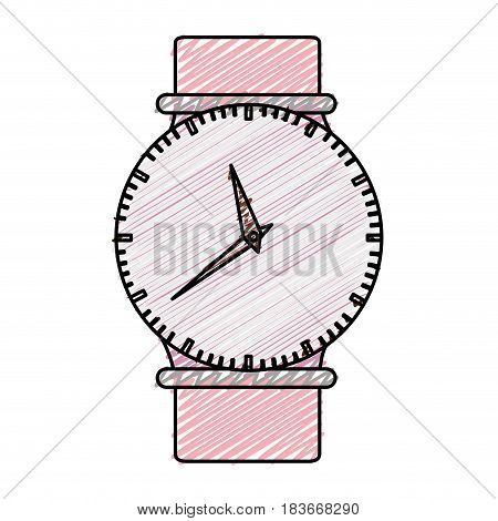 color pencil graphic of female wristwatch vector illustration