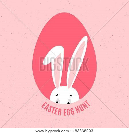 Easter Egg Hunt Poster with hiding bunny. Funny banner in vector isolated on pink background