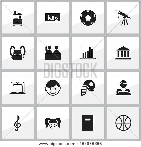 Set Of 16 Editable School Icons. Includes Symbols Such As Bookcase, Schoolbag, Book Rack And More. Can Be Used For Web, Mobile, UI And Infographic Design.