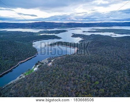 Snowy River And Lake Jindabyne Aerial View. New South Wales, Australia