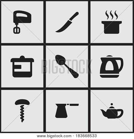 Set Of 9 Editable Food Icons. Includes Symbols Such As Utensil, Soup Pot, Agitator And More. Can Be Used For Web, Mobile, UI And Infographic Design.