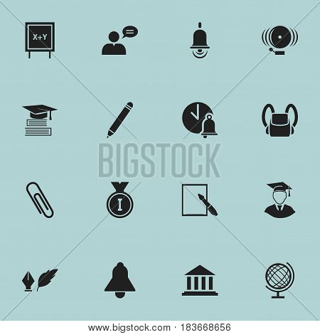 Set Of 16 Editable School Icons. Includes Symbols Such As Diplomaed Male, Blackboard, Ring And More. Can Be Used For Web, Mobile, UI And Infographic Design.