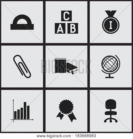 Set Of 9 Editable School Icons. Includes Symbols Such As Work Seat, Alphabet Cube, Semicircle Ruler And More. Can Be Used For Web, Mobile, UI And Infographic Design.