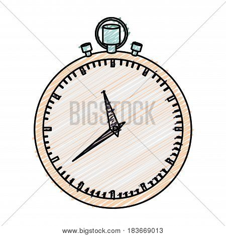 color pencil graphic of simple stopwatch vector illustration